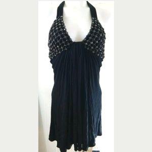 Sky Brand Chain Embellished Rhinestone Mini Dress